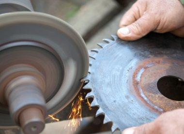 sharpens a circular