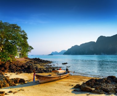 Tropical landscape. Beach of Phi Phi Island, Thailand