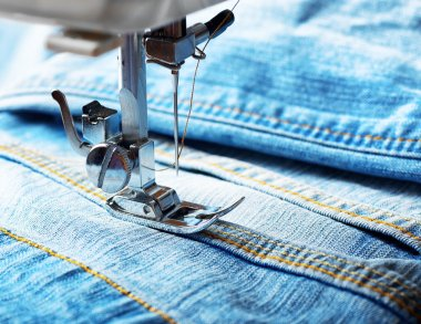 Sewing machine and jeans fabric