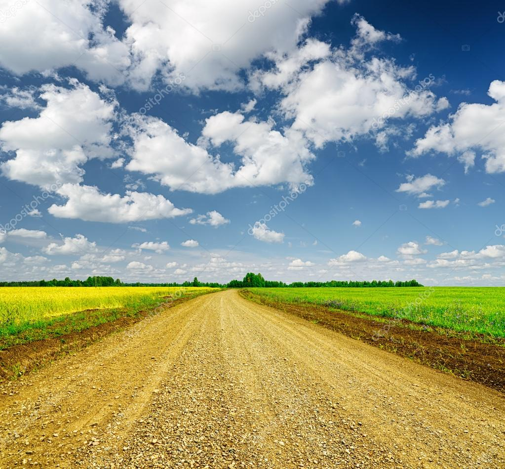 Blue sky and ground road