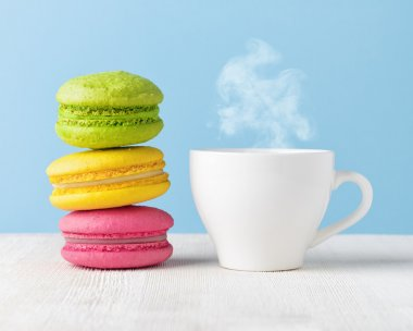 Macaron and cup of coffee