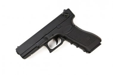 Black handgun isolated on white stock vector
