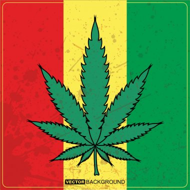 Rastafarian reggae flag with marijuana