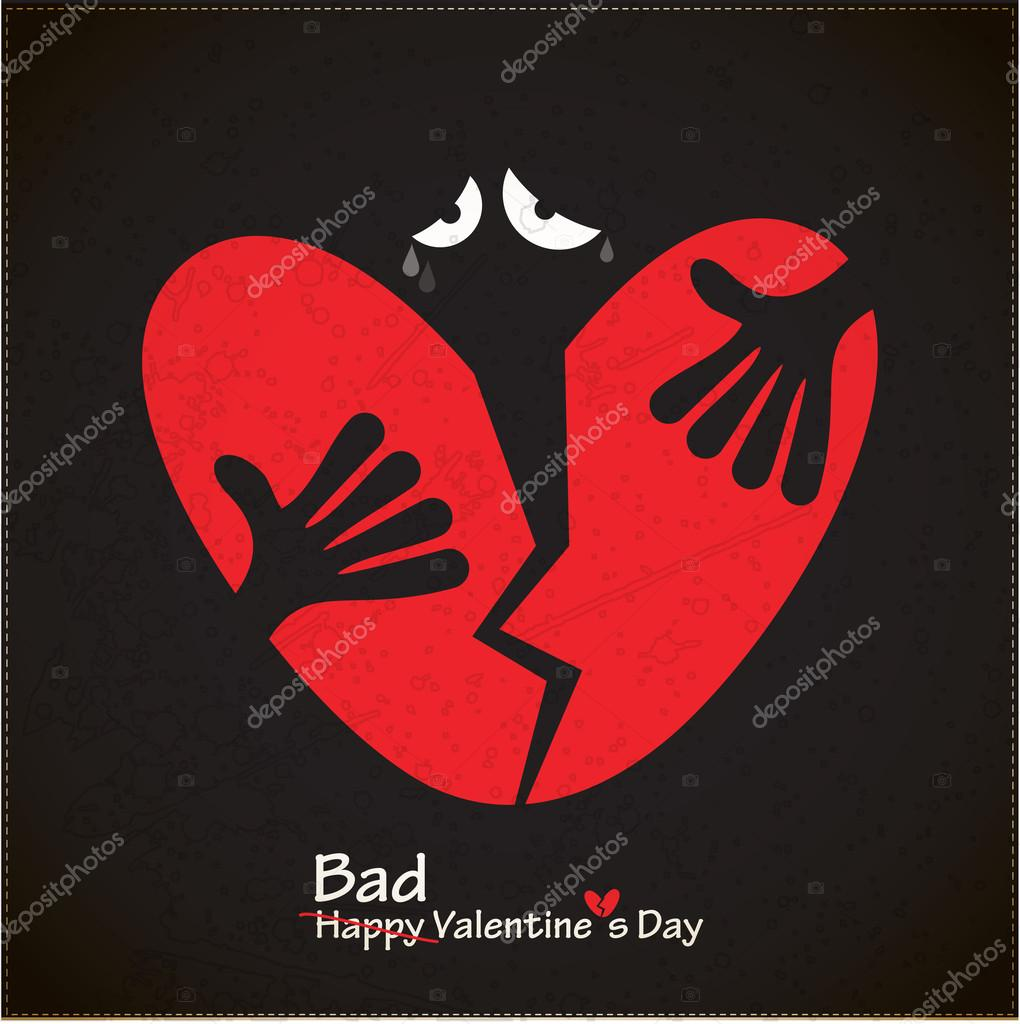 Bad valentine's day card with broken heart