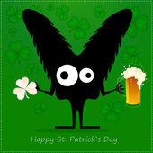 šťastný st. patrick s den. roztomilý monstrum s cloverleaf a pivo