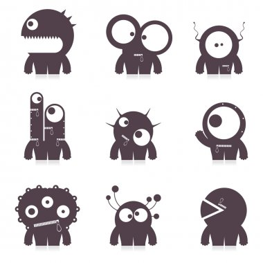 Set of cute monsters. vector
