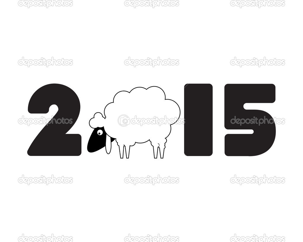 new year card with sheep and 2015 year stock vector