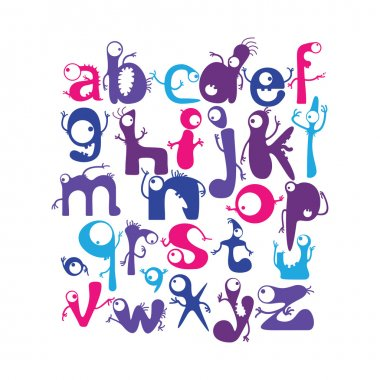 Alphabet with funny monsters