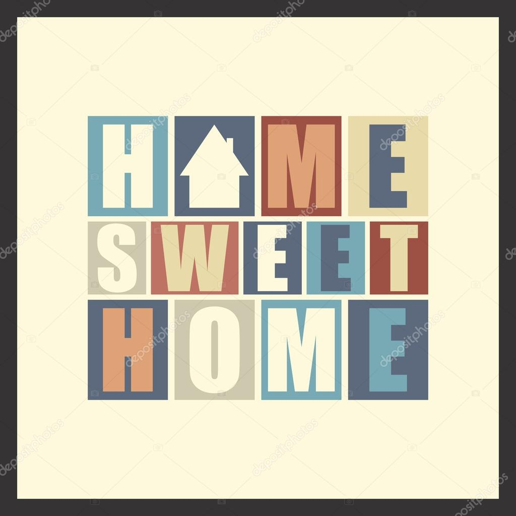 Retro Letters Home Sweet Home In Frame Stock Vector