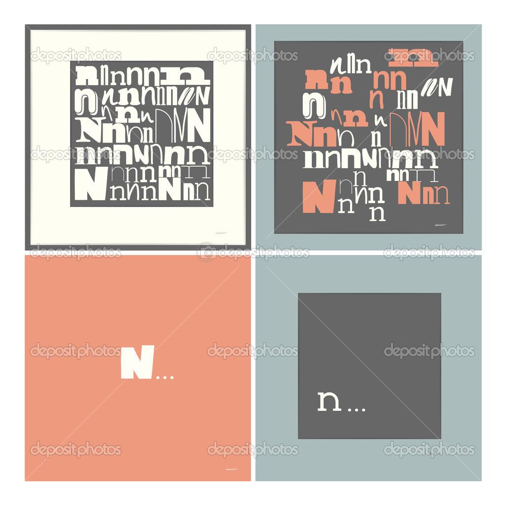 Stylowy Alfabet W Ramkach Litera N Elementy Typograficzne