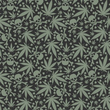 Cannabis leafs with skulls