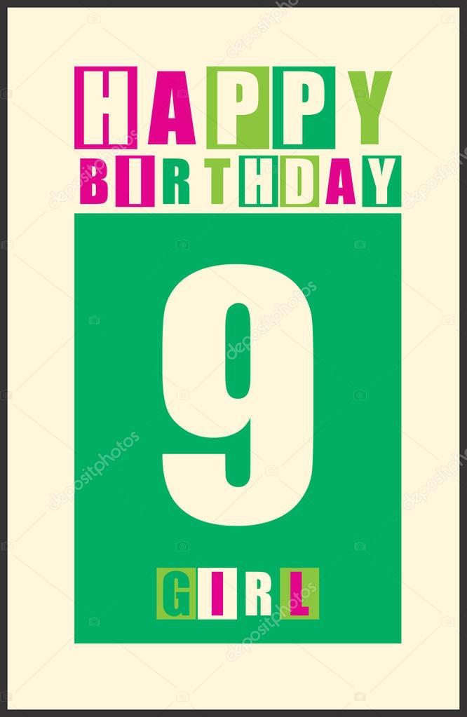 Geliefde Retro gelukkige verjaardagskaart. Gelukkige verjaardag meisje 9 &AD03