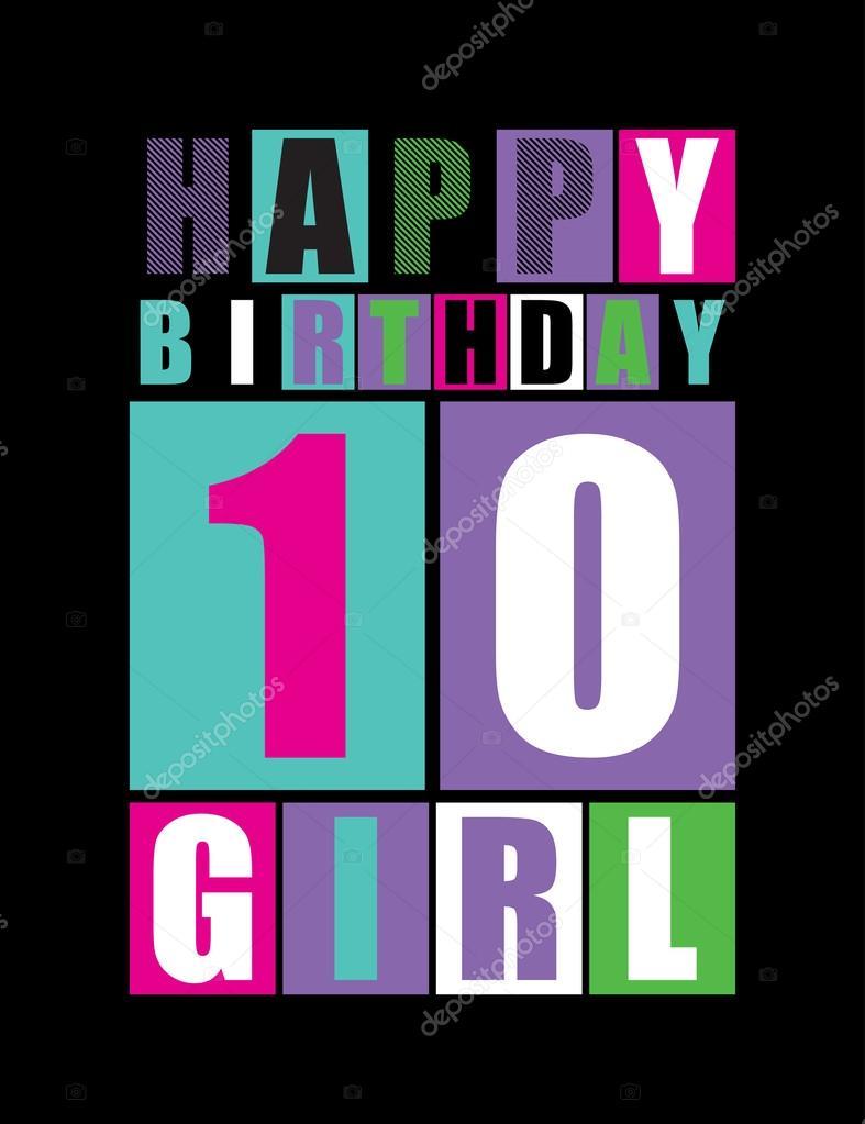 verjaardag meisje 10 jaar Retro gelukkige verjaardagskaart. Gelukkige verjaardag meisje 10  verjaardag meisje 10 jaar