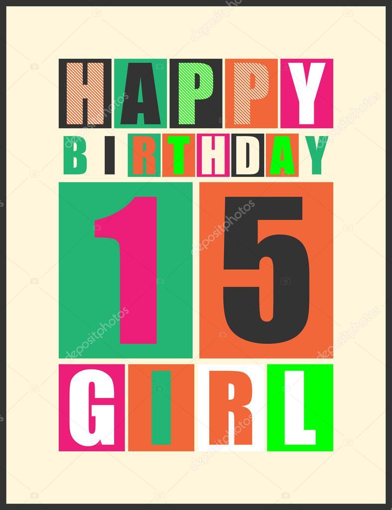 grattiskort 15 år retro grattiskort. Grattis på födelsedagen flicka 15 år  grattiskort 15 år