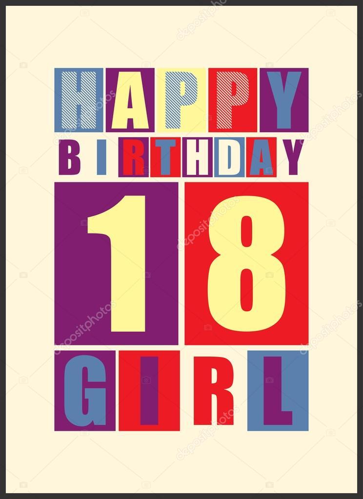 Retro Happy Birthday Card Girl 18 Years Gift Stock