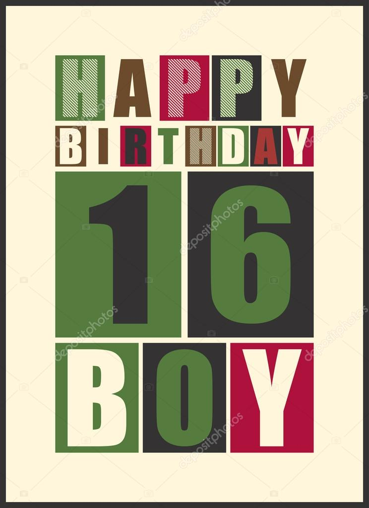 Retro Happy Birthday Card Boy 16 Years Gift Stock
