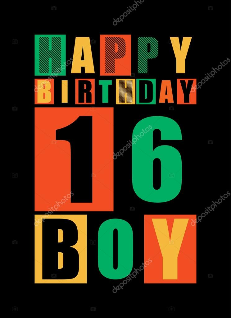 Retro Happy Birthday Card Boy 16 Years Gift Stock