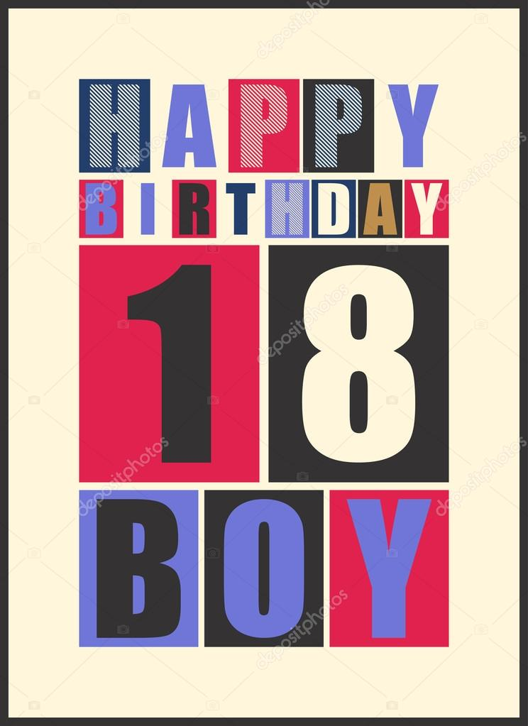 Retro Happy Birthday Card Boy 18 Years Gift Stock