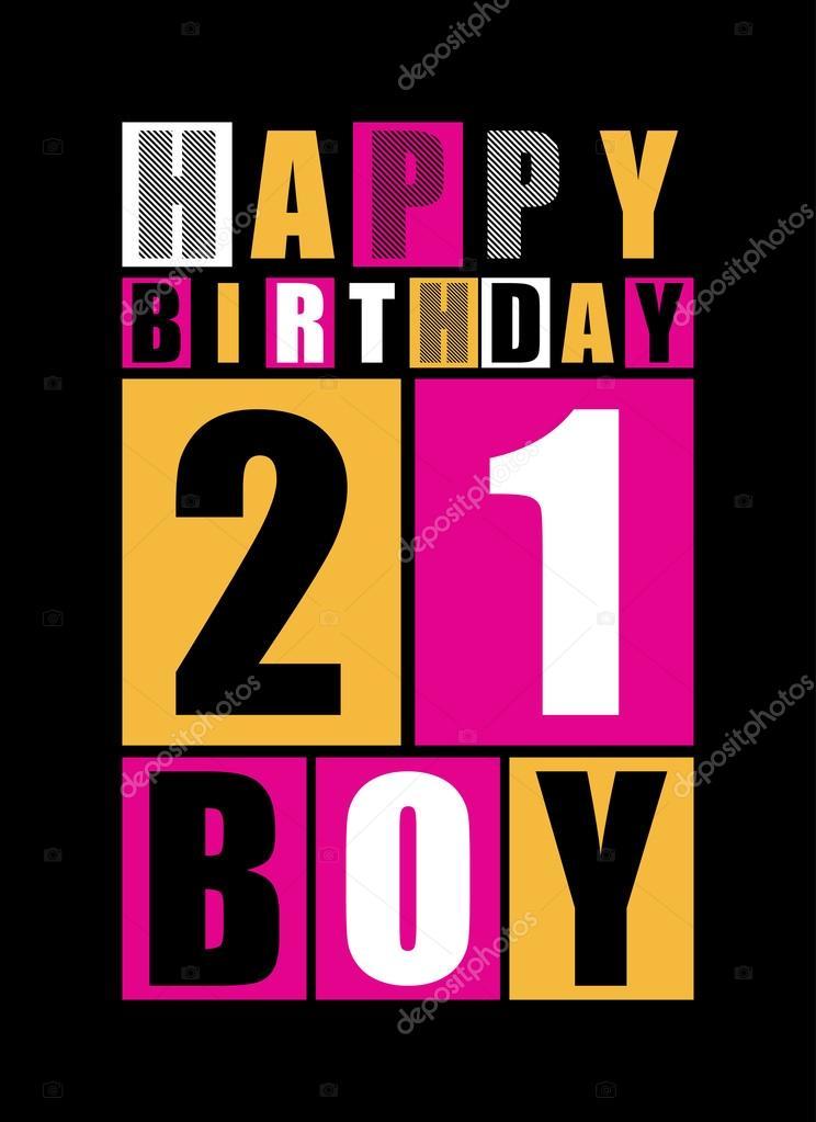 Retro Gelukkige Verjaardagskaart Gelukkige Verjaardag Jongen 21