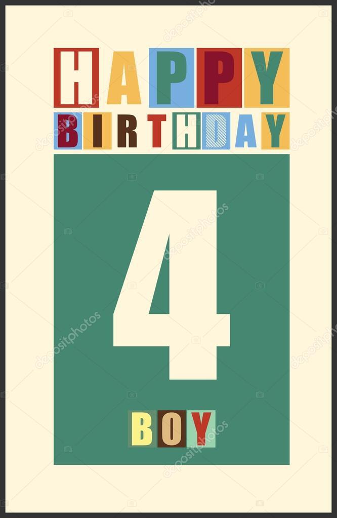 Retro Gelukkige Verjaardagskaart Gelukkige Verjaardag Jongen 4 Jaar