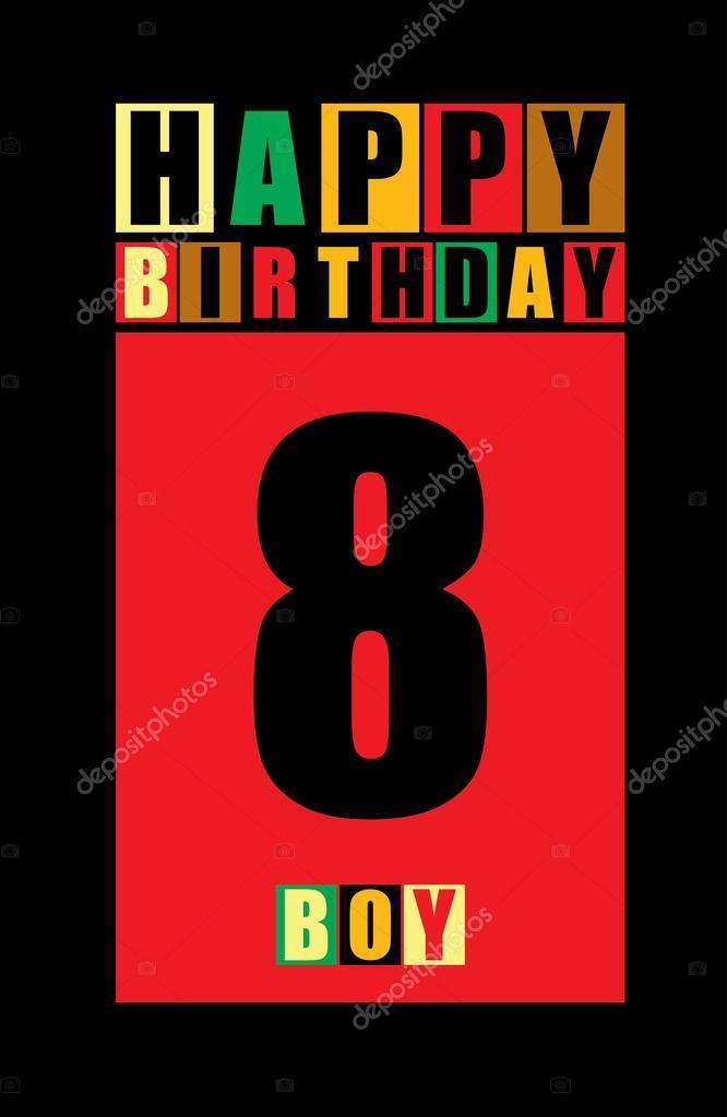 Retro Happy Birthday Card Boy 8 Years Gift Stock