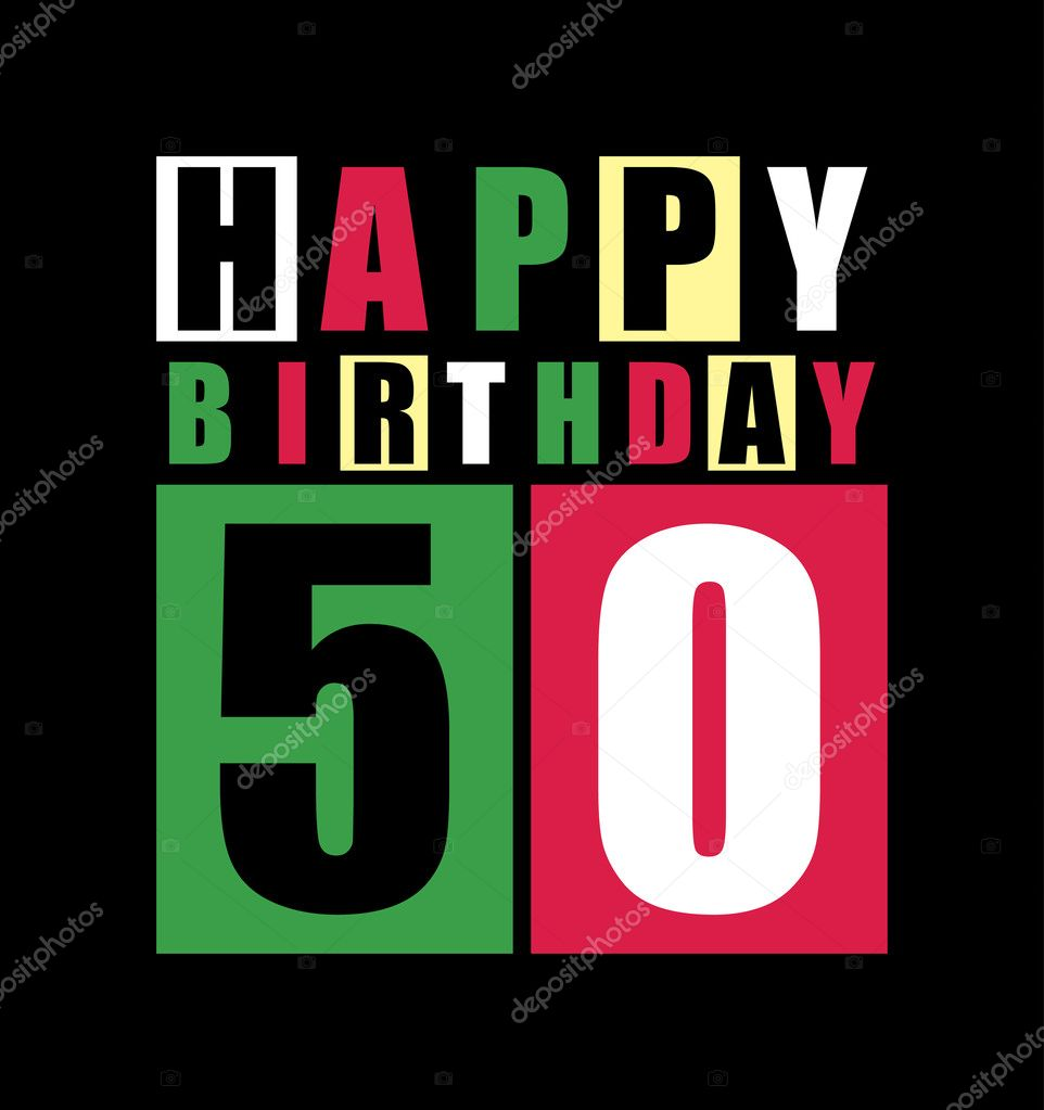Retro Happy Birthday Card 50 Years Gift Stock Vector