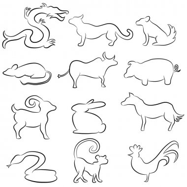 Chinese Astrology Animal Line Drawings
