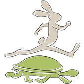 Fotografie želva a zajíc závod