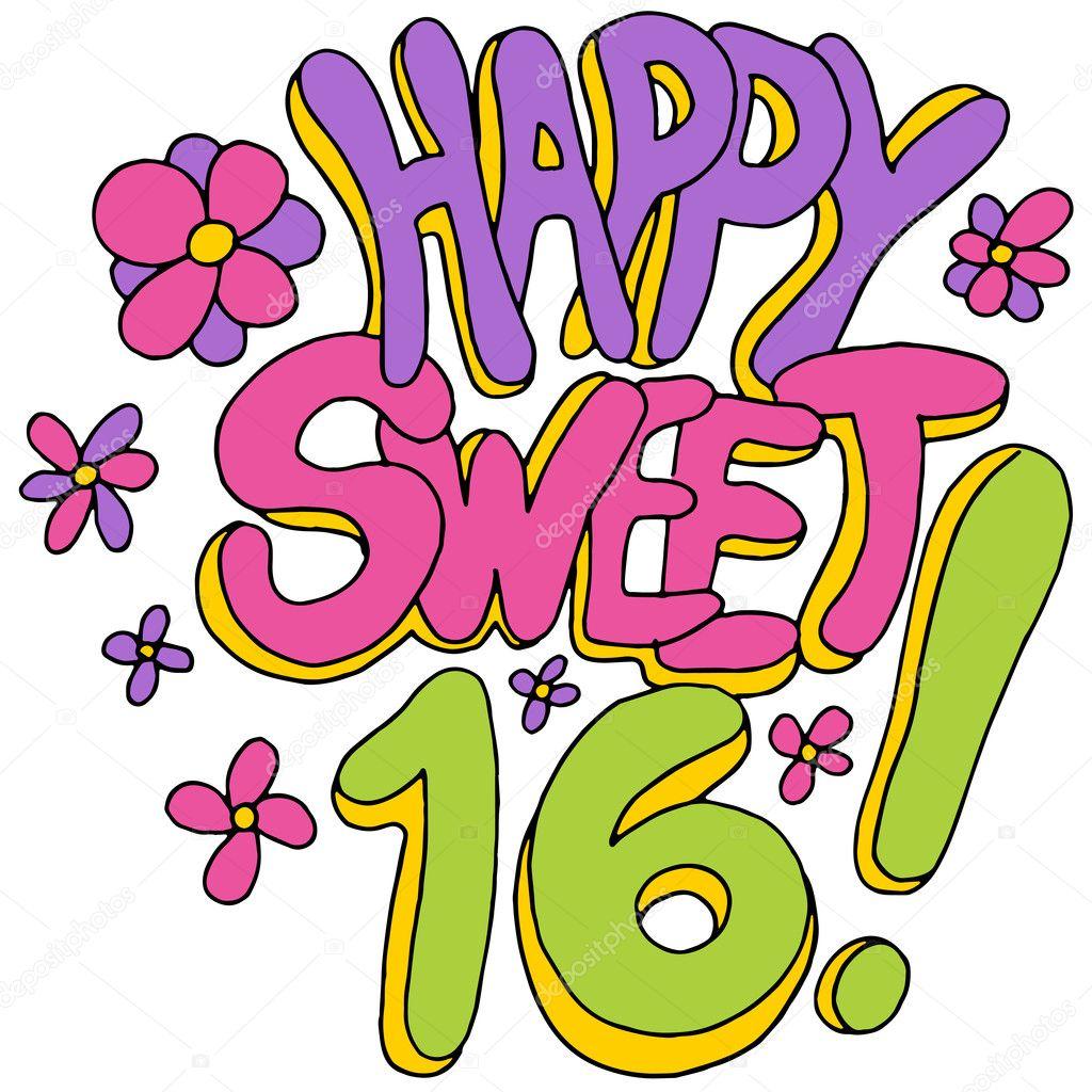 happy sweet sixteen stock vector cteconsulting 44850857 rh depositphotos com sweet sixteen clipart sweet sixteen clip art free