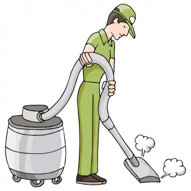 An image of a man using a wet dry vacuum. clip art vector