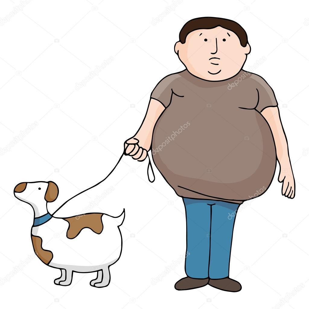 Overweight Man and Dog