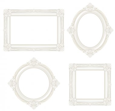 Set of white antique frames. stock vector