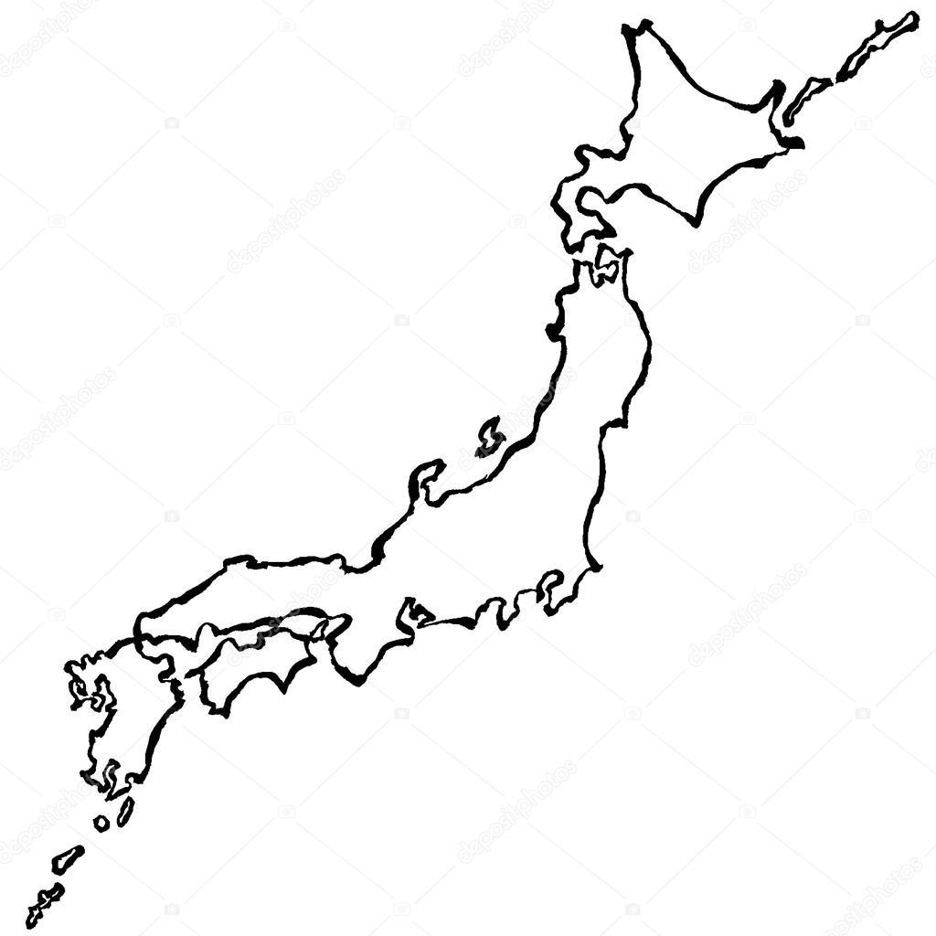 Japan Map Brush Stroke Line Stock Vector Lalan - Japan map vector free download