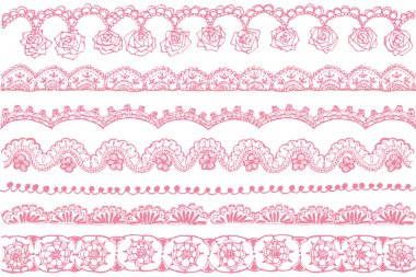 Set of lace trim textures. stock vector