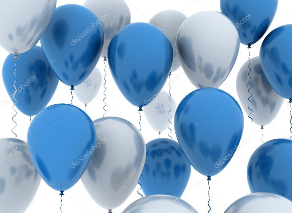 蓝色和白色的派对气球 — 图库照片#