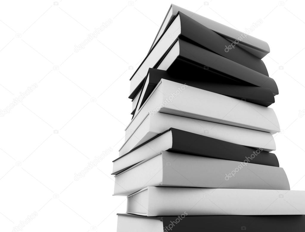 Apilados Libros Blanco Y Negro Sobre Fondo Blanco