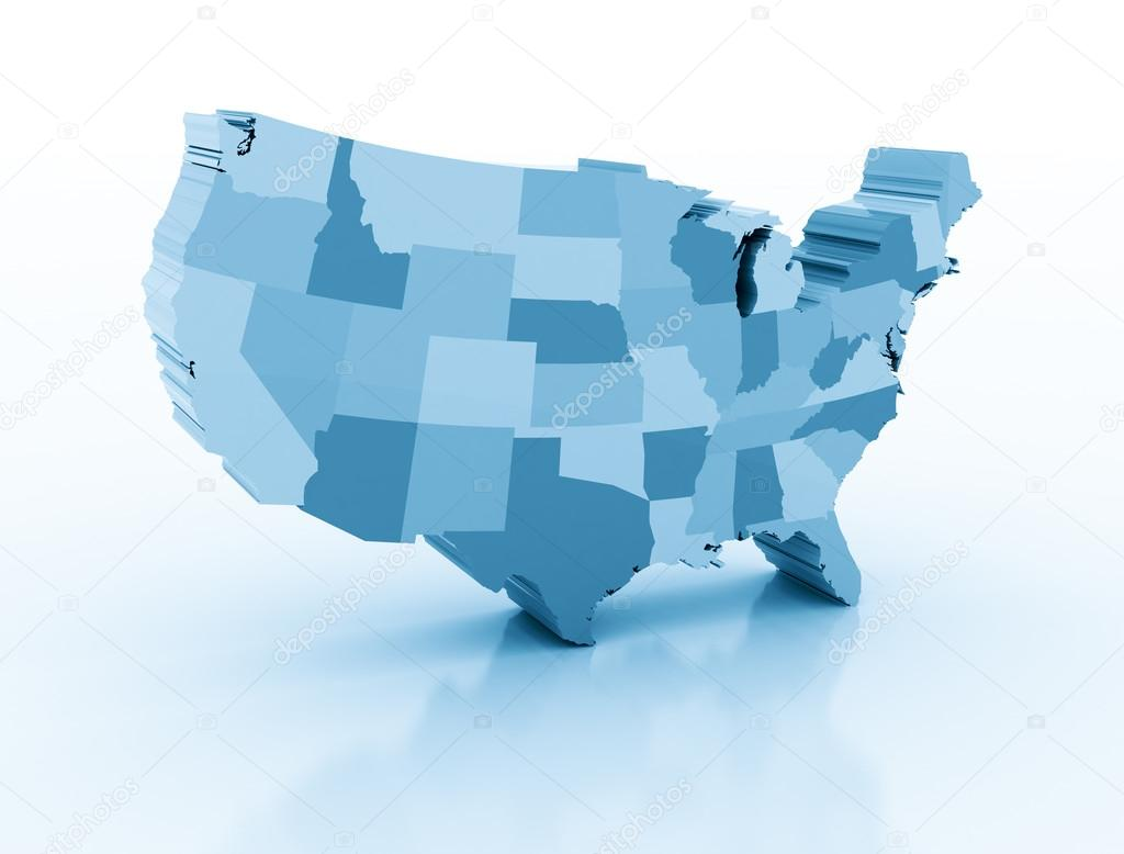United States Of Ameria D Map Stock Photo Jezper - Us map 3d