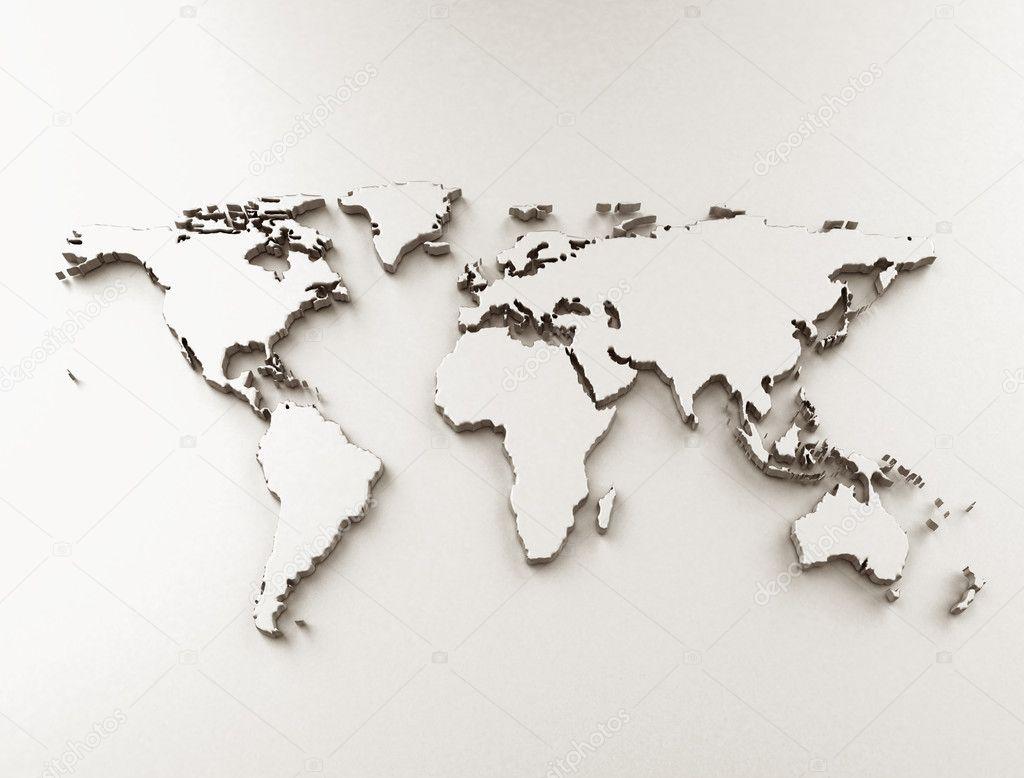 world map 3d stock photo