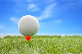 golfové míče plastové tee s rozostření modrá obloha.