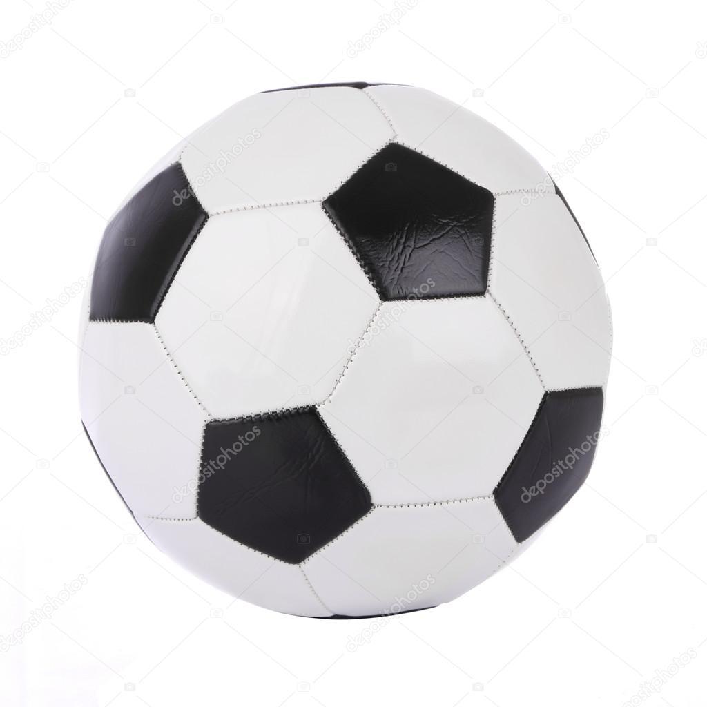 coser pelota cuero sobre fondo blanco — Foto de stock © keerati ...