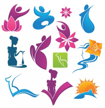Vector collection of spa and beauty symbols
