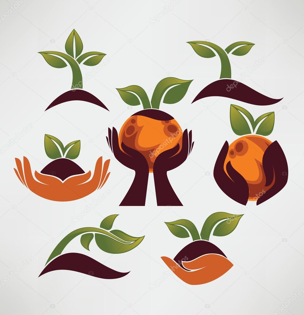 Earth in your hands, collection of ecological symbols and signs
