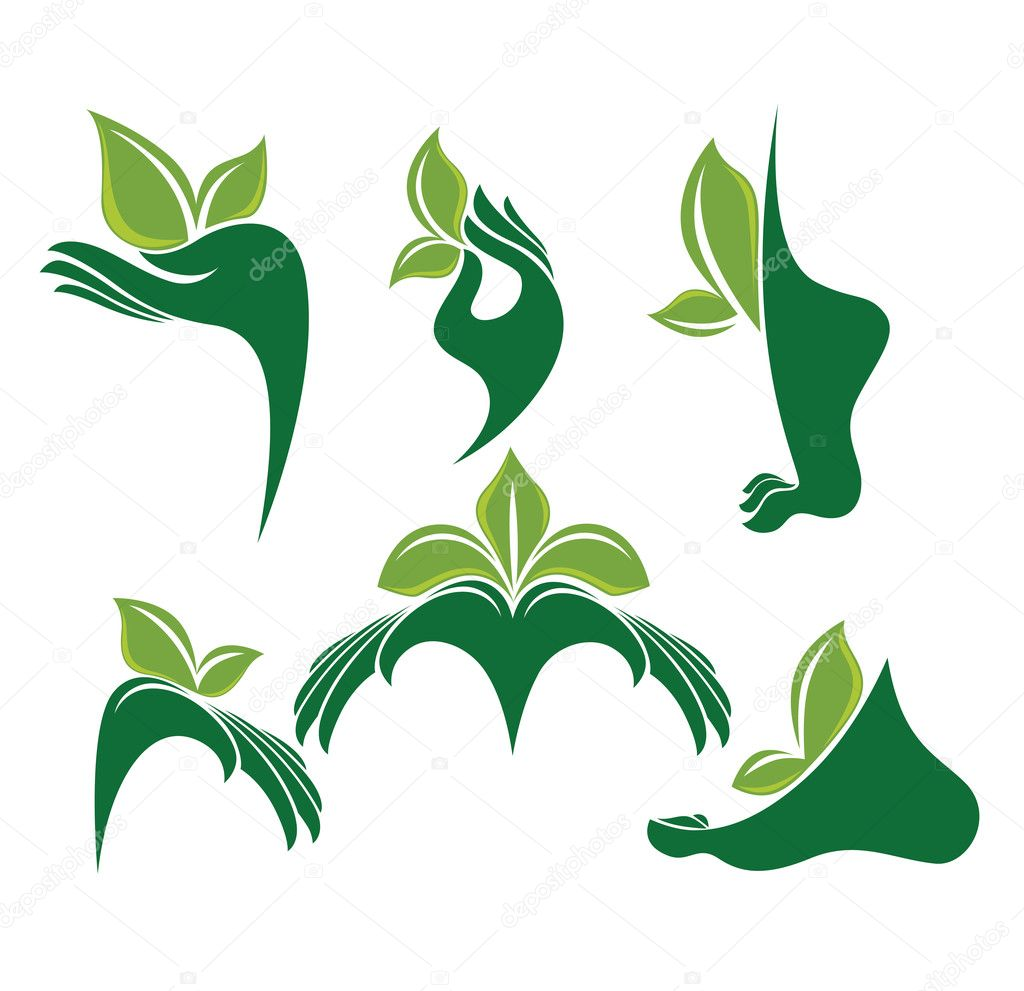 Green hands and foot, vector collection of eco and beauty symbols