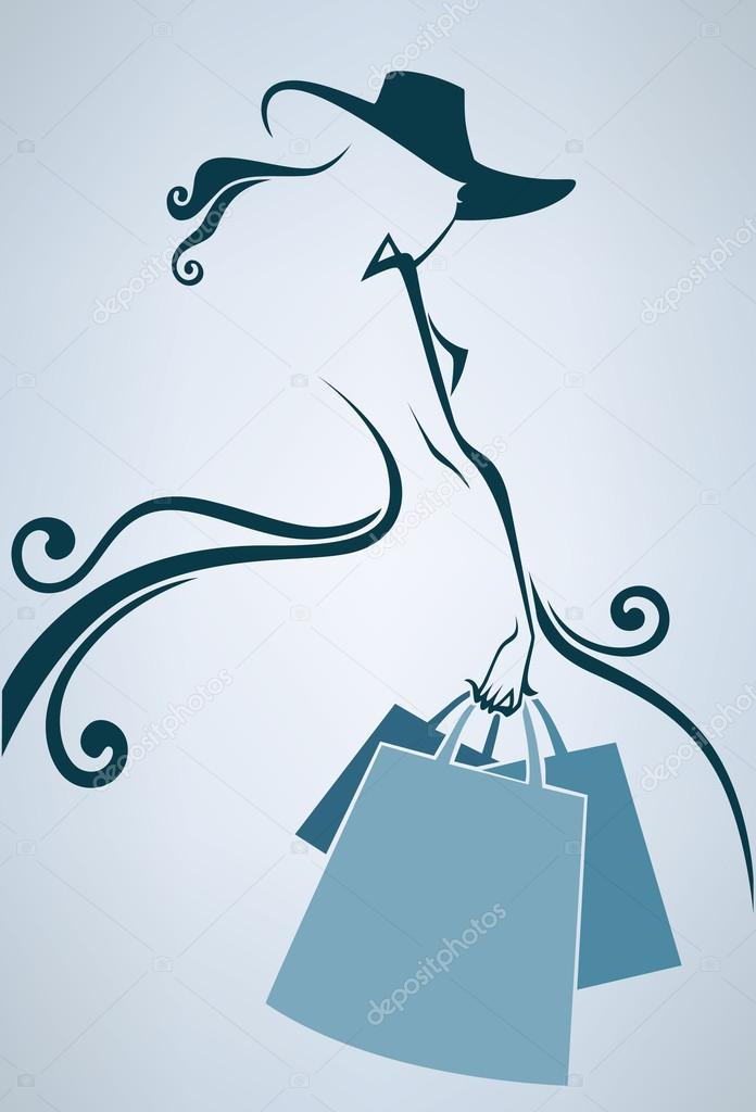 Season of shopping, vector commercial background with girl silho
