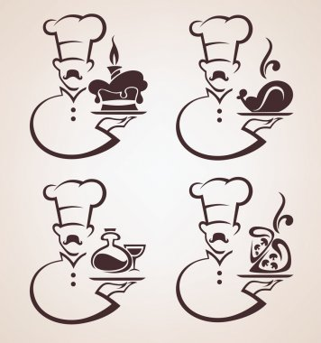 Cooking symbols, food and chief silhouettes, vector collection