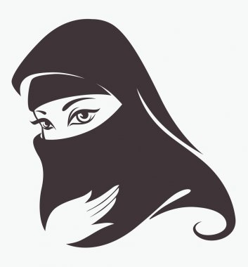 Beautiful face of arabic muslim woman, vector illustration