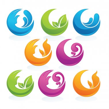 Earth, fire, water and air, nature symbols