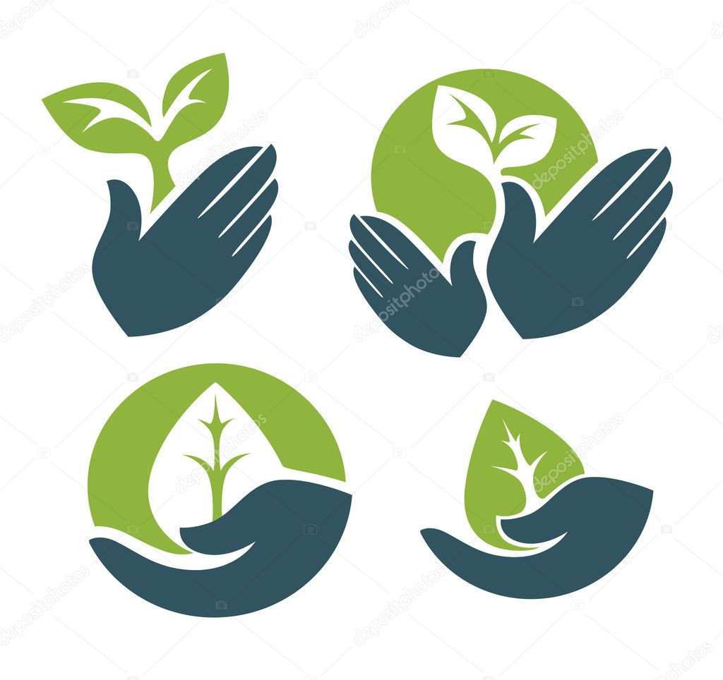 Human's hands and green growing plants