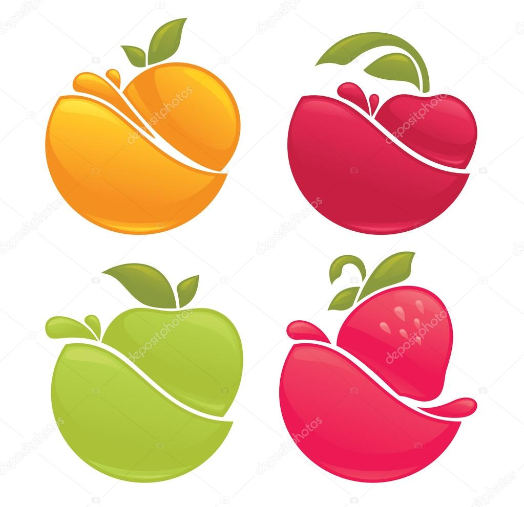 fresh stylized fruits and berries, stickers and emblems