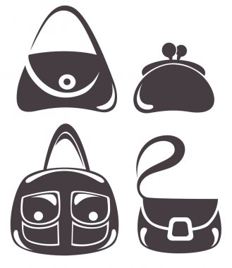 Vector collection of woman's accessories, bags and purse